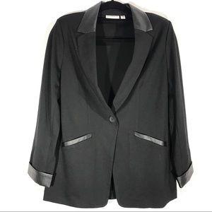 Susan Graver Ponte Knit Jacket Faux Leather Trim